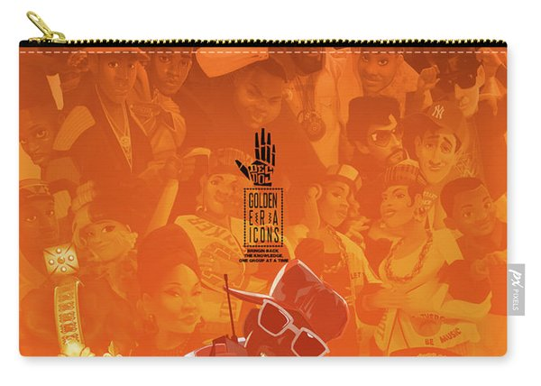 Carry-all Pouch featuring the digital art Golden Era Icons Collage 1 by Nelson dedos Garcia