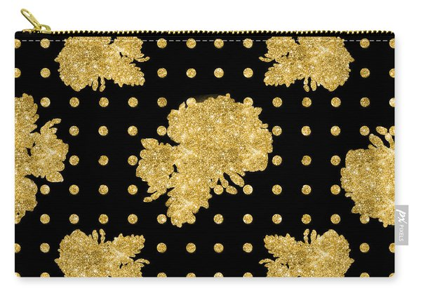 Golden Gold Floral Rose Cluster W Dot Bedding Home Decor Art Carry-all Pouch