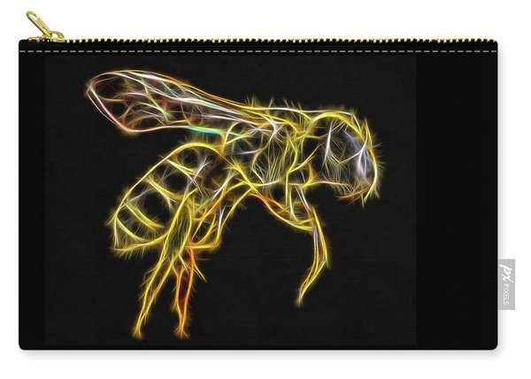 Golden Honey Bee Fractalized Carry-all Pouch