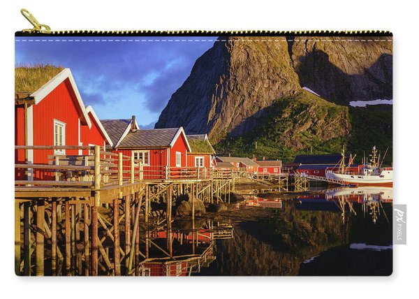 Carry-all Pouch featuring the photograph Golden Hour In Reine by Dmytro Korol