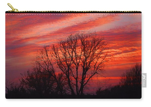 Golden Pink Sunset With Trees Carry-all Pouch
