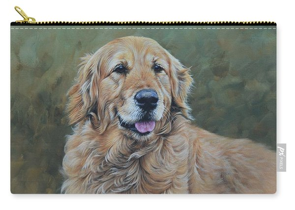 Carry-all Pouch featuring the painting Golden Retriever Portrait by Alan M Hunt