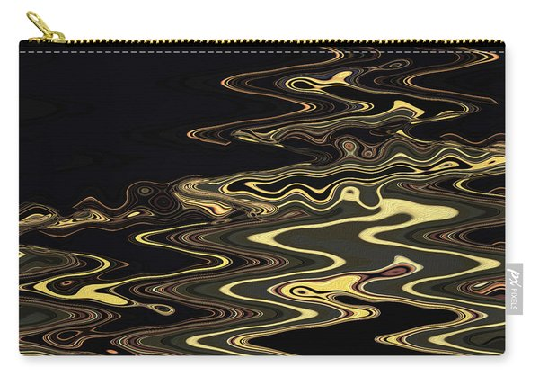 Carry-all Pouch featuring the digital art Golden Shimmers On A Dark Sea by Gina Harrison
