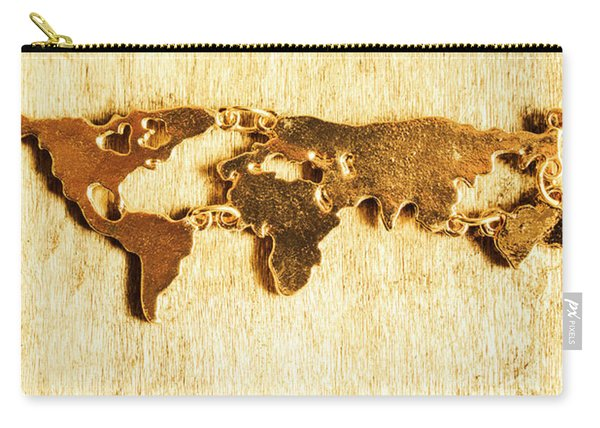 Golden World Continents Carry-all Pouch