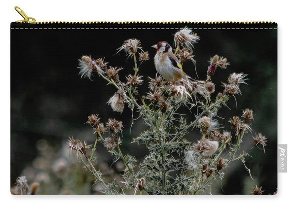 Carry-all Pouch featuring the photograph Goldfinch Sitting On A Thistle by Scott Lyons