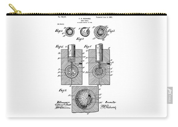 Golf Ball Patent Drawing White Carry-all Pouch
