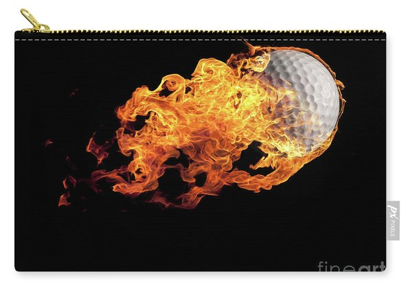 Golf Ball With Flames On Black Carry-all Pouch