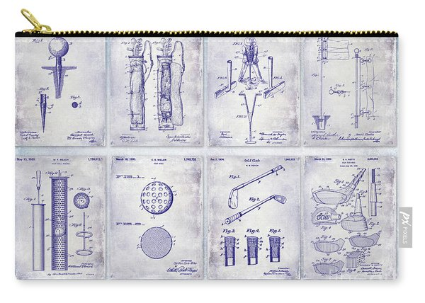 Golf Patent History Drawing Blueprint Carry-all Pouch