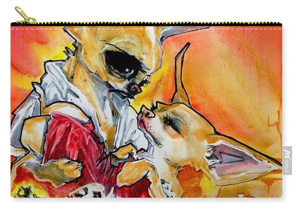 Gone With The Wind Chihuahuas Caricature Art Print Carry-all Pouch