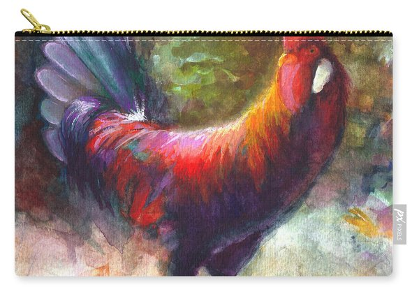Carry-all Pouch featuring the painting Gonzalez The Rooster by Talya Johnson