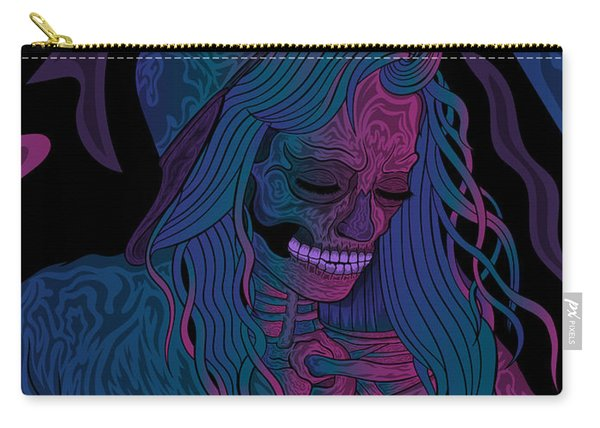 Carry-all Pouch featuring the painting Good Vibes Skelegirl by Raphael Lopez