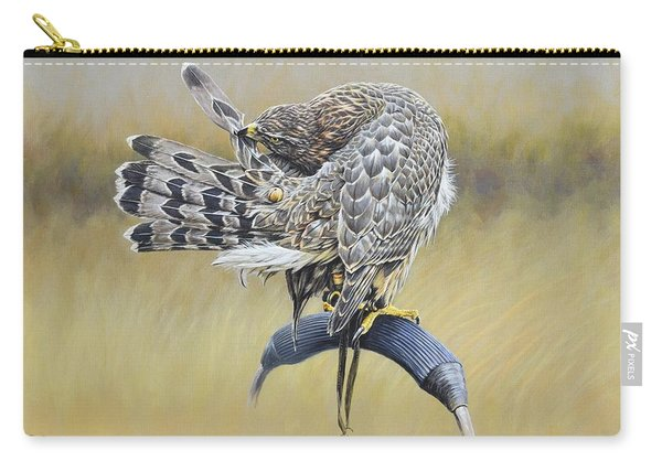 Carry-all Pouch featuring the painting Goshawk Preening by Alan M Hunt