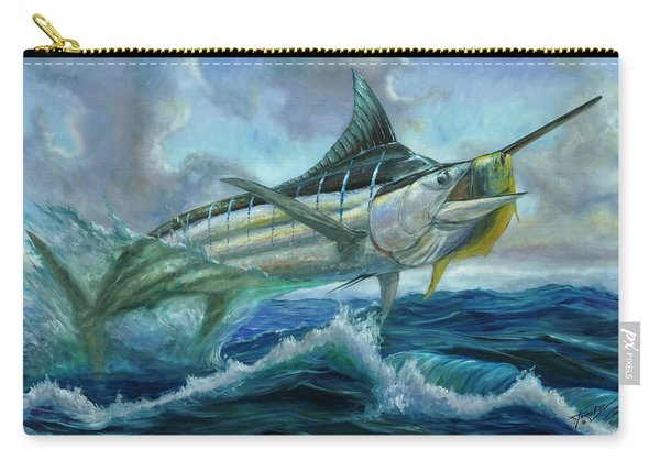 Grand Blue Marlin Jumping Eating Mahi Mahi Carry-all Pouch