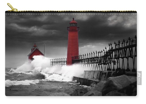 Grand Haven Lighthouse In A Rain Storm Carry-all Pouch