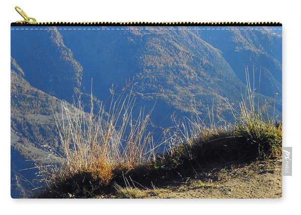 Grass In The Foreground, The Main Valley Of The Swiss Canton Of Valais In The Background Carry-all Pouch