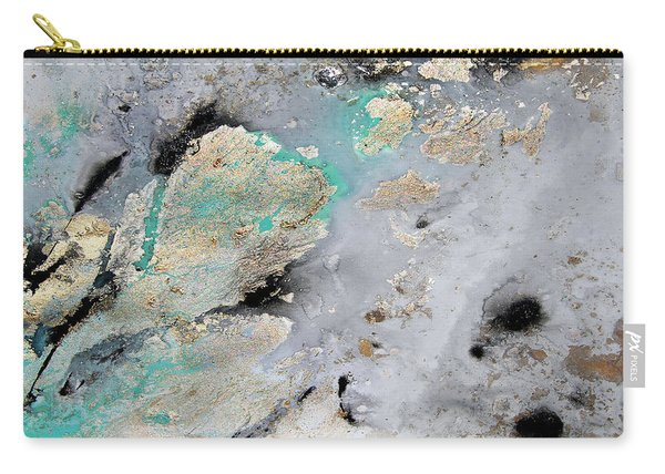 Gray, Gold, Black And Teal Carry-all Pouch