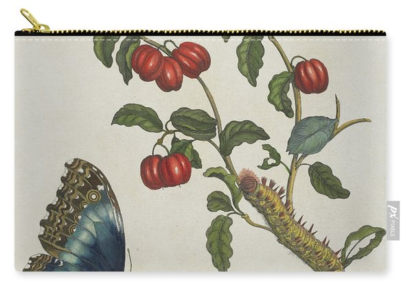 Great Blue Butterflies And Red Fruits Carry-all Pouch