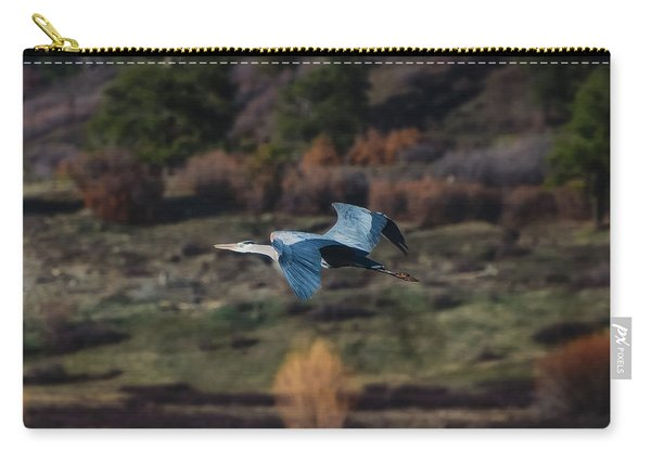 Carry-all Pouch featuring the photograph Great Blue Heron In Flight II by Jason Coward
