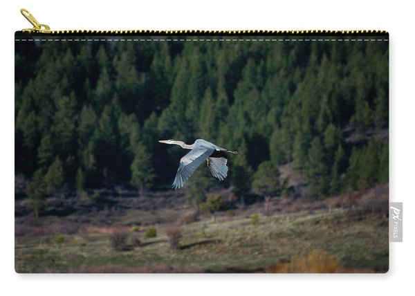 Carry-all Pouch featuring the photograph Great Blue Heron In Flight by Jason Coward