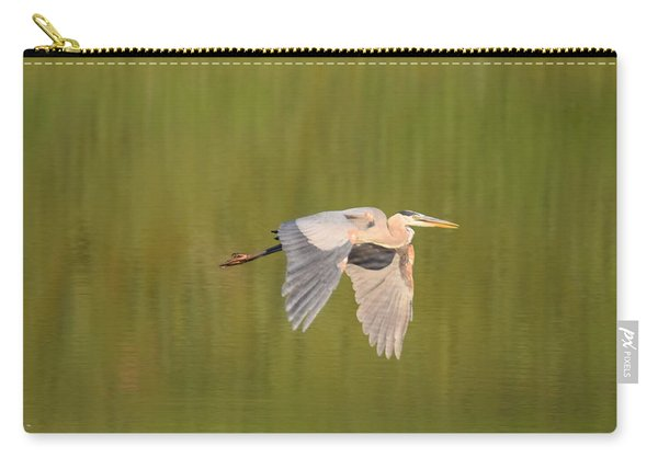 Carry-all Pouch featuring the photograph Geat Blue Heron Burgess Res Divide Co by Margarethe Binkley