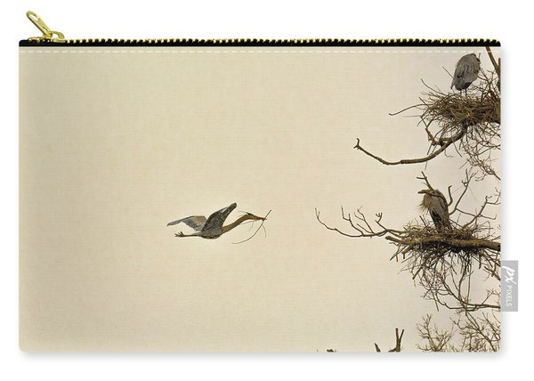Great Blue Heron Nest Building Carry-all Pouch