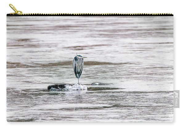 Great Blue Heron On A Frozen Lake Carry-all Pouch