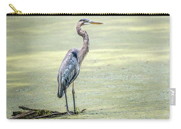 Great Blue Heron Standing In A Marsh Carry-all Pouch