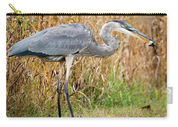 Great Blue Heron Struggling With Lunch Carry-all Pouch