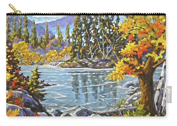 Great Canadian Lake  - Large Original Oil Painting Carry-all Pouch
