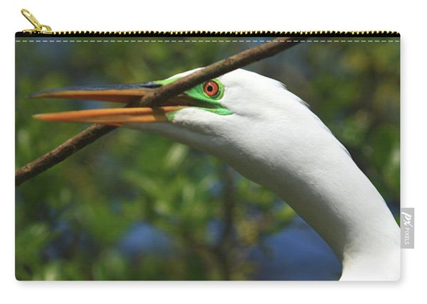 Great Egret In Green Carry-all Pouch