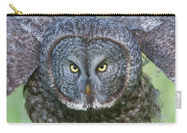 Great Gray Owl Flight Portrait Carry-all Pouch