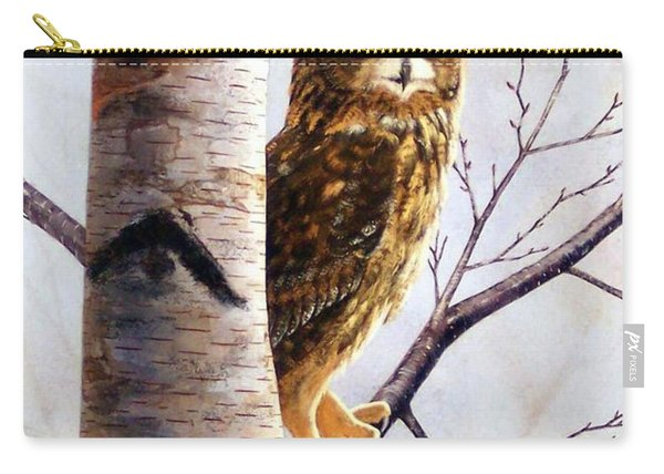 Great Horned Owl In Birch Carry-all Pouch