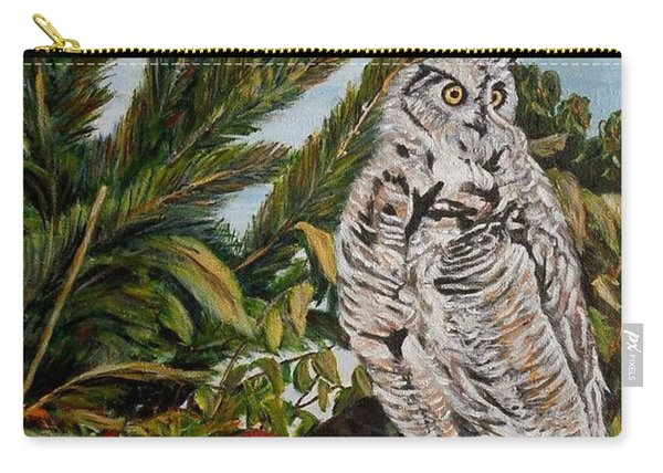 Great Horned Owl - Owl On The Rocks Carry-all Pouch