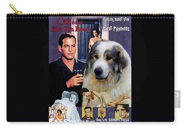 Great Pyrenees - Pyrenean Mountain Dog Art Canvas Print - Cat On A Hot Tin Roof Movie Poster Carry-all Pouch