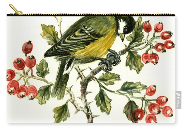 Great Tit On Hawthorn Carry-all Pouch