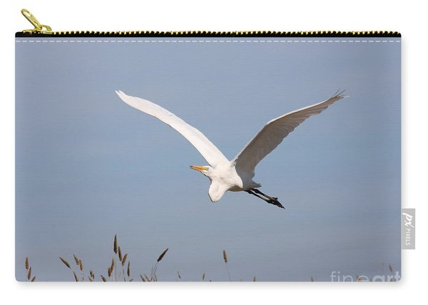 Great White Egret In Flight Carry-all Pouch