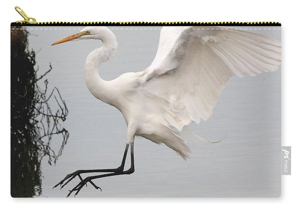 Great White Egret Landing On Water Carry-all Pouch
