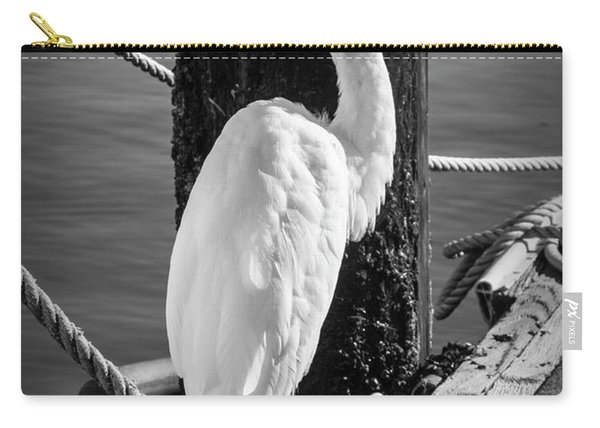 Great White Heron In Black And White Carry-all Pouch