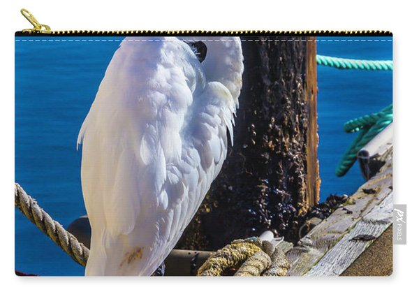 Great White Heron On Boat Dock Carry-all Pouch