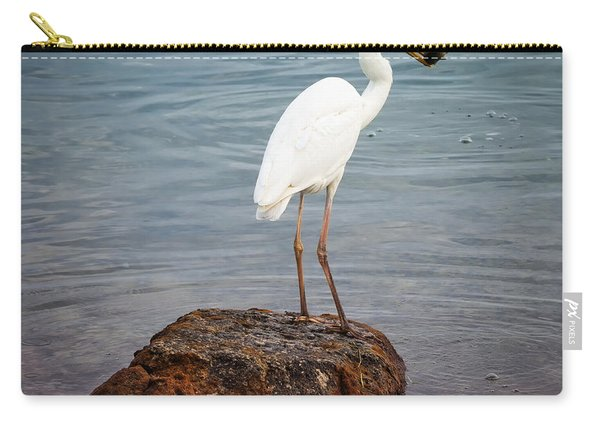 Great White Heron With Fish Carry-all Pouch