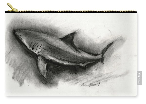 Great White Shark Drawing Carry-all Pouch