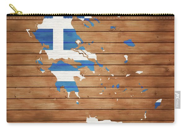 Greece Rustic Map On Wood Carry-all Pouch
