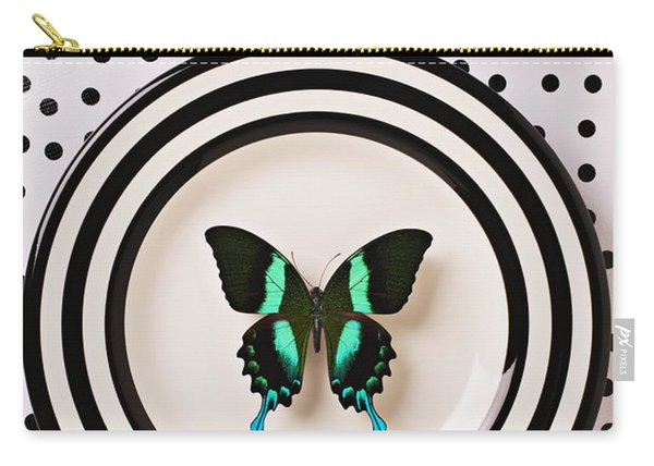 Green And Black Butterfly On Plate Carry-all Pouch