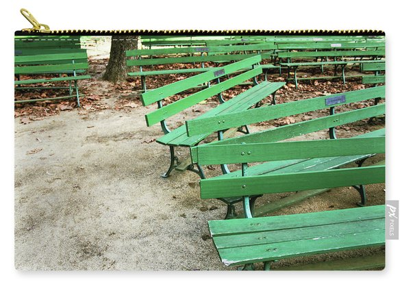 Green Benches- Fine Art Photo By Linda Woods Carry-all Pouch