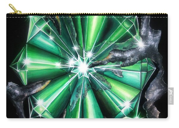 Green Beryl Crystals In Space Carry-all Pouch
