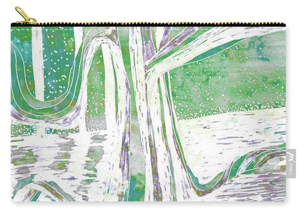 Green-grey Misty Morning River Tree Carry-all Pouch