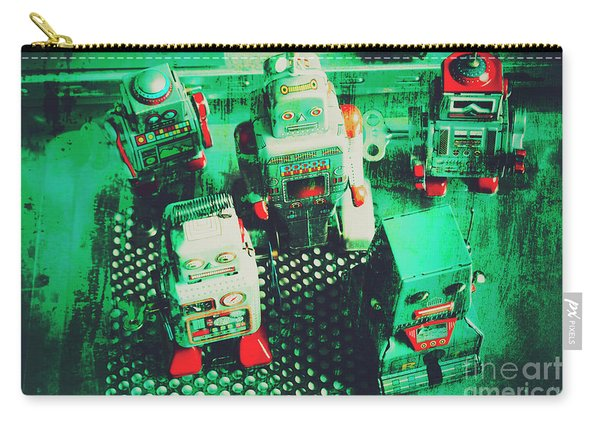 Green Grunge Comic Robots Carry-all Pouch