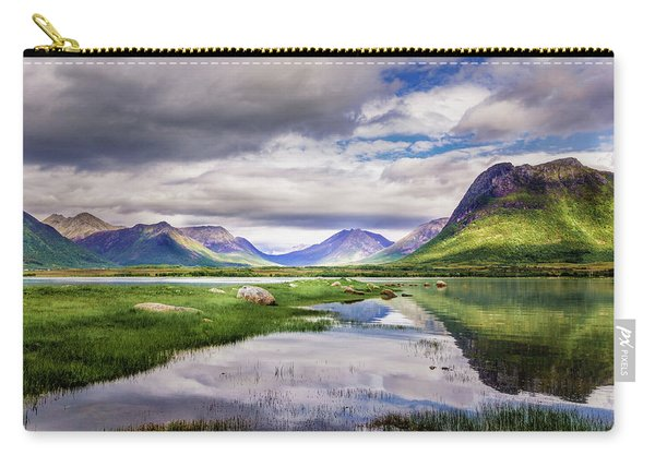 Carry-all Pouch featuring the photograph Green Hills Of Vesteralen by Dmytro Korol