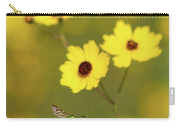 Green Metallic Bee Carry-all Pouch