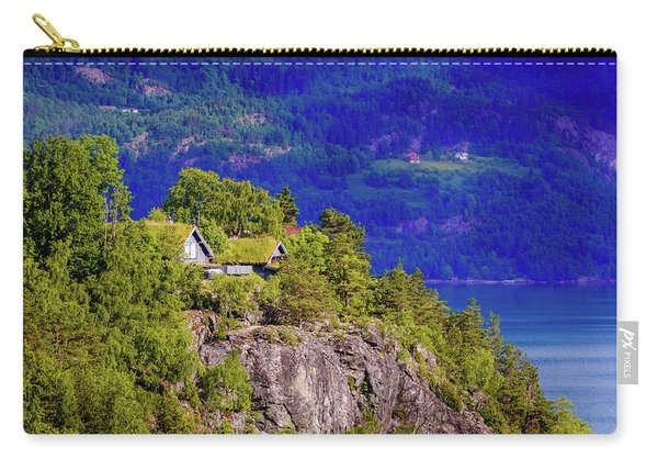 Carry-all Pouch featuring the photograph Green Roofs Of Lustrafjorden by Dmytro Korol